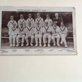 Yorkshire County Cricket Team - vintage photographic postcard.