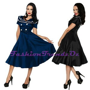 Rockabilly-Vintage-Sailor-40s-50s-Retro-Nautical-Costume-Formal-Dress-Sz-8-18