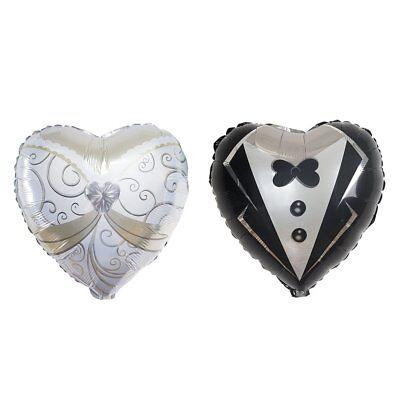 Bride And Groom Balloons (8 pcs Heart Shaped Wedding Groom Tuxedo and Bride Dress 14