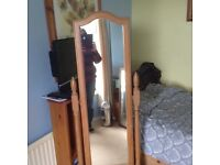 Full length pine mirror with drawer.
