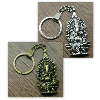 GANESHA KEYCHAIN Hindu Elephant God Silver or Brass Tone Metal Key Chain Ring