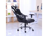 BRAND NEW RECLINING SPORTS RACING GAMING OFFICE COMPUTER CHAIR BLACK & WHITE