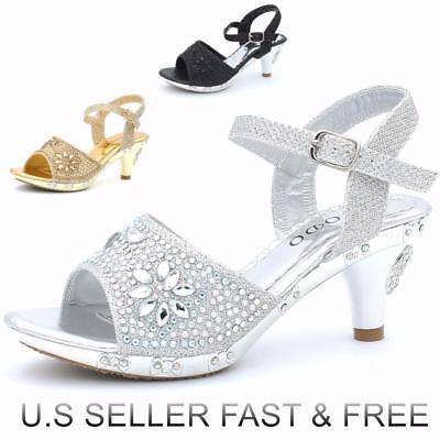 - Girls' Pageant Buckle Sandal Dress Shoes Low Heel Rhinestones Glitter Slingback