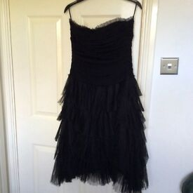 Black Cocktail Dress Julien Macdonald size 14 strapless knee length.