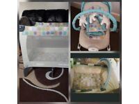 Baby bouncer with matching travel cot