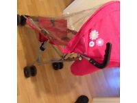 Travel Stroller Red with Pink Hood Extra light easy to carry with Hood Rain Cover Basket Foldable