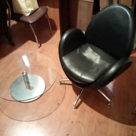 black leather chair with glass coffee or side table can deliver