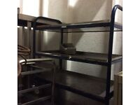 Shelved trolley on wheels for food storage