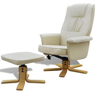 Poltrona sedia reclinabile di pelle artificiale con poggiapiedi bianco crema