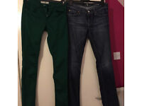 TWO pairs of Jeans Topshop and Seven for all Mankind W28 L34