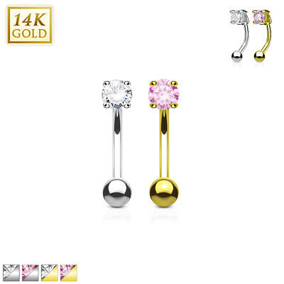 14 Kt. Gold Round CZ Curve Barbell Eyebrow Ring Lip Rook Daith Snug Piercing 16G (Round Curved Barbell)