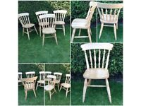 4 x very solid farmhouse kitchen dining chairs 4 x rustic farmhouse dining chairs