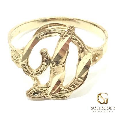 NEW 10K YELLOW GOLD15 MM LONG CURSIVE SCRIPT INITIAL RING 10KT RING -