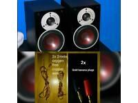 Dali Zensor 1 Glossy Black Ash Vinyl Speaker Pair + Wire + Gold Banana Plugs