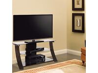 """Bell'O Chelsea Curved Wood, Metal and Glass TV Stand for TVs up to 55"""" - New in sealed box"""