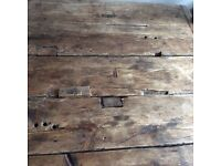 Antique real oak wooden table with 6 leather chairs