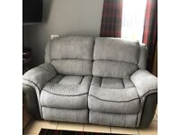 2 seater both ends reclines grey sofa brilliant condition