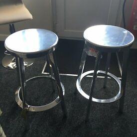 Designer by Magis of italy , 2x Aluminium Bar / Drinks Stools