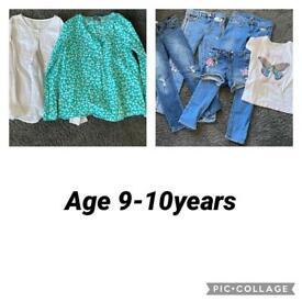 Girls 9-10 years clothes bundle. Shirts, jeans, denim shorts age 9-10