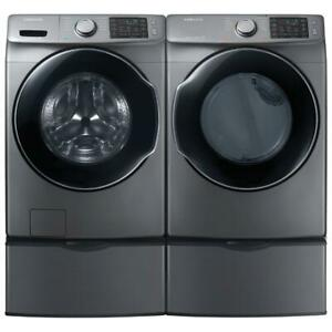 Samsung WF45M5500AP 27 Front Load Steam Washer And DVE45M5500P Electric Steam Dryer Pair Sale