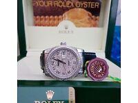 New Boxed diamond dial doamond bezel and black leather bracelet Rolex Datejust Comes Rolex Bagged