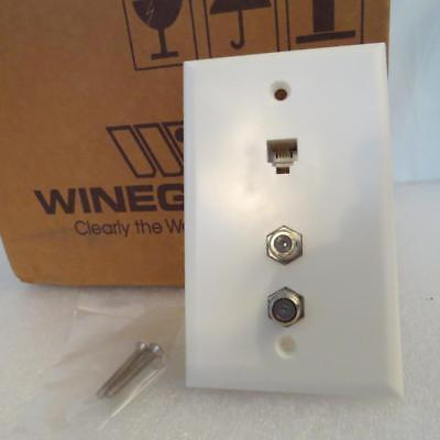 Winegard OT-8800 White Wall Plate Outlet Dual Coax F-81 Connector + RJ11 (Dual Coax Wall Plate)