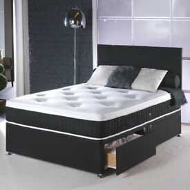 SUPREME QUALITY FABRIC DIVAN BASE IN BLACK/WHITE COLOR WITH FULL FOAM LUXURY MATTRESS