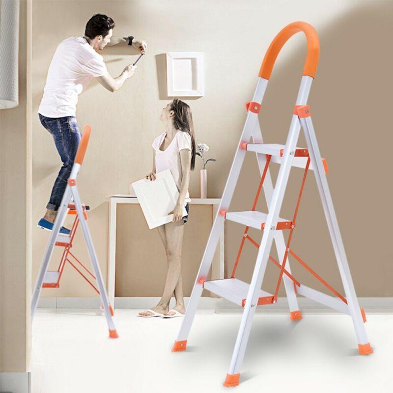 3-Step Ladder Folding Stepladder Aluminum Step Stool Ladder