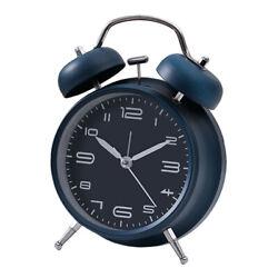 Wind Up Alarm Clock Double Bell Mechanical Alarm Clock Dustproof-Dark Blue