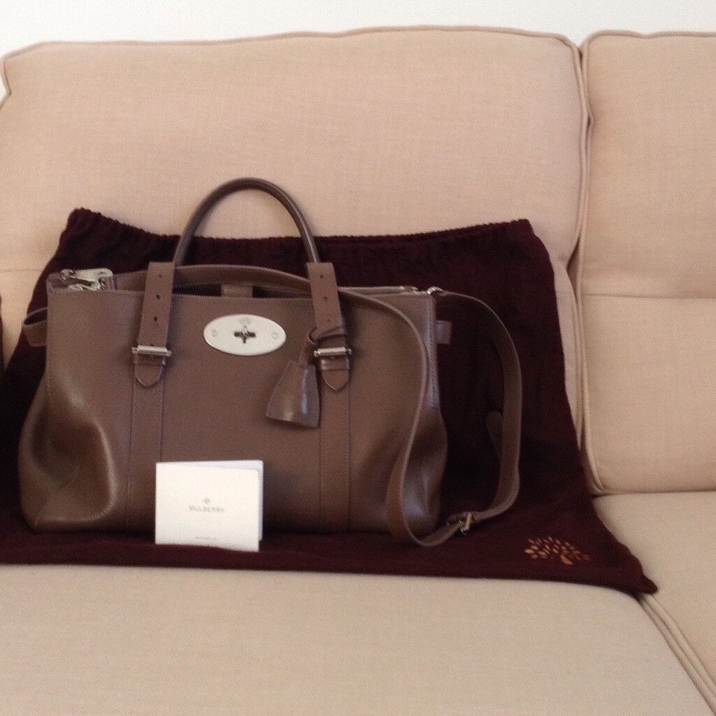 Mulberry bag. Bayswater double zip tote. Taupe colour