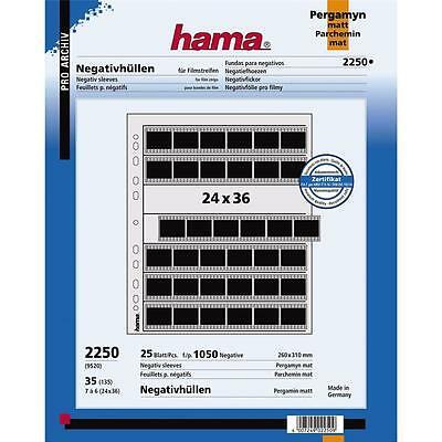 HAMA 35MM NEGATIVE STORAGE PAGES 2250 FOR RINGBINDER PACK OF 25 FILING SHEETS