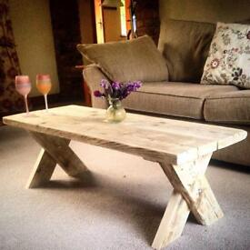 Rustic style wooden coffee tables available