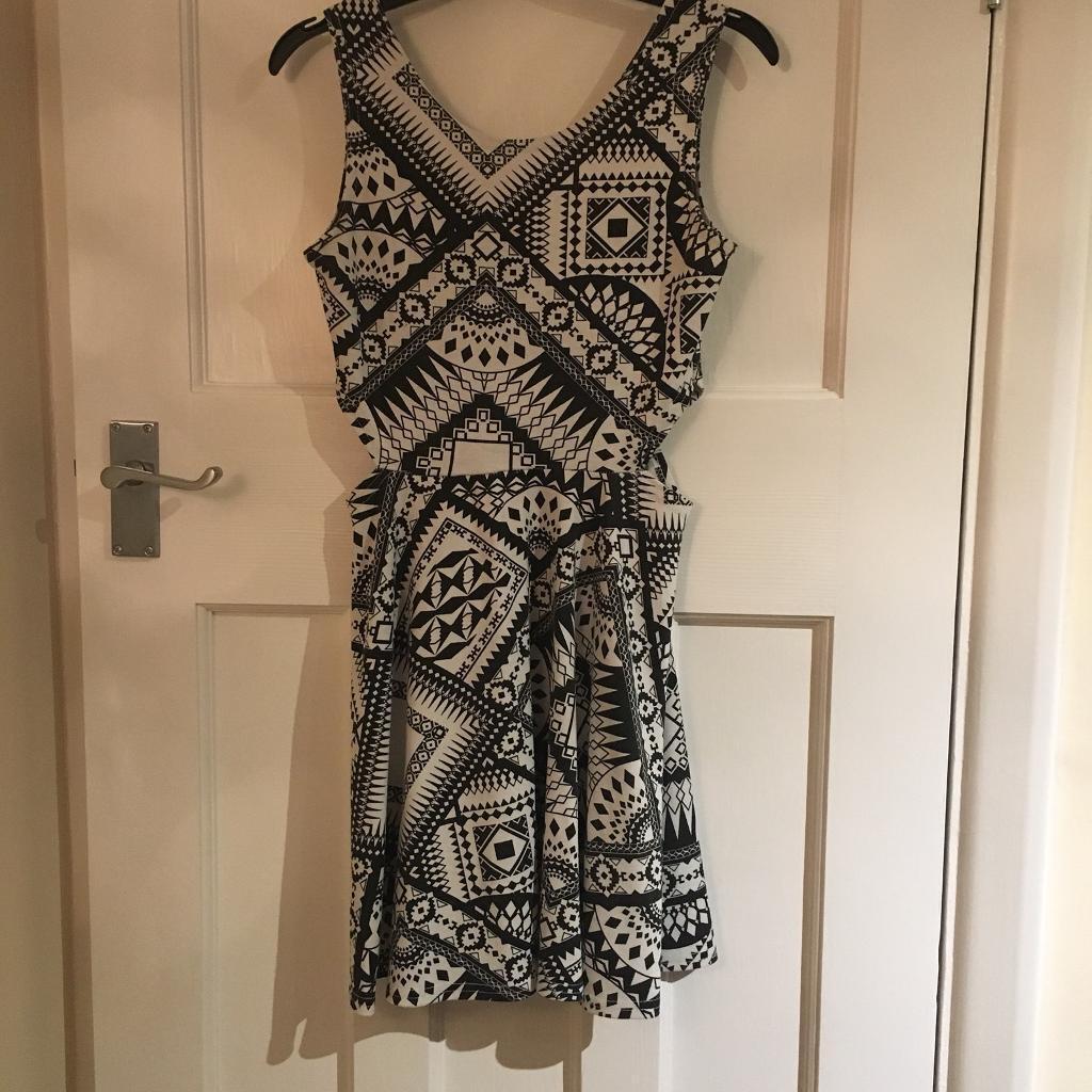 Black & White Aztec Print Cut Out Dress