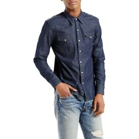 Bargain Brand NEW Clearance Reduced Levi's Barstow Western Denim Shirt, Indigo Smoke & Pet Free Hme
