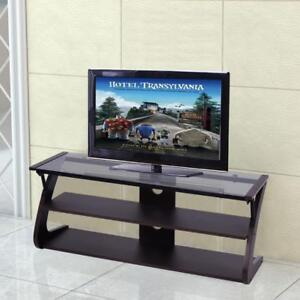 3-Tier Tempered Glass Top TV Stand Entertainment Center Media Console Furniture - BRAND NEW - FREE SHIPPING