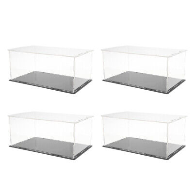 4pc Clear Acrylic Display Box Dustproof Case W Base For Action Figure Dolls