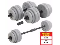 Fitness 30kg Dumbbell/Barbell Weight Set Pair of Hand Weights Gym Workout