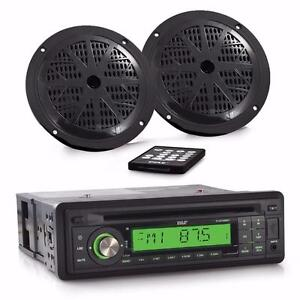 Pyle PLCD14MRKT MARINE STEREO RECEIVER & SPEAKER KIT - SINGLE DIN RADIO WITH CD PLAYER, MP3/USB/SD READERS