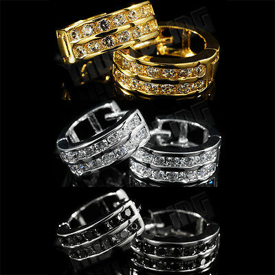Silver Huggies Earrings (18k Gold Silver Black Lab Diamond Bling Out Iced Huggie Women Men HOOP EARRINGS )