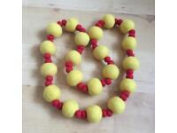 Felt Handmade Natural Wool Beads Long Necklace