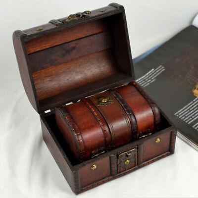 2Piece Retro Wooden Lock Treasure Chest Jewelry Storage Box Container Holder