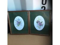 2 x FLORAL PICTURES IN FRAMES BY JOHN DIXON