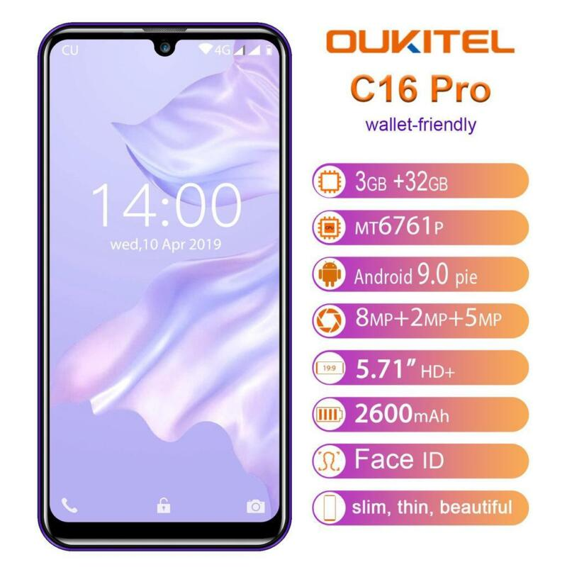 Android Phone - OUKITEL C16PRO Mobile Phone Dual 4G 5.71'' 3+32GB LTE Android 9.0 FREE GIFT