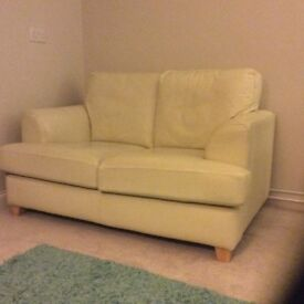 Two seat leather cream sofa