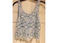 Topshop blue lace top size 8