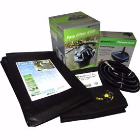 2000 litres (439 gallons) Garden Pond Kit - pond liner, underlay, pond pump, pond filter and pipe -