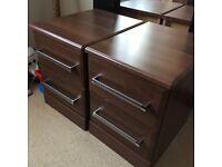 2x Bedside Drawers in Dark wood