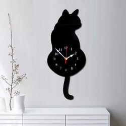 Black Cat Cartoon Wall Clock with Waging Swing Tail for Bedroom Home Decor