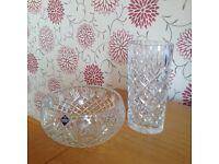 Edinburgh Crystal Vase & Fruit Bowl.