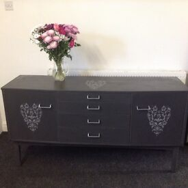 Grey sideboard large tv cabinet with shabby chic heart detail. Lots of storage cupboards and drawers